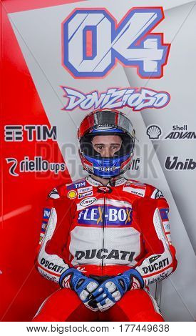 SEPANG MALAYSIA - JANUARY 30 2017 : Ducati Team rider Andrea Dovizioso prepares to start from box during 2017 MotoGP pre-season test at the Sepang International Circuit.