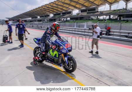 SEPANG MALAYSIA - JANUARY 30 2017 : Movistar Yamaha MotoGP rider Maverick Vinales during 2017 MotoGP pre-season test (Winter Test) at the Sepang International Circuit.