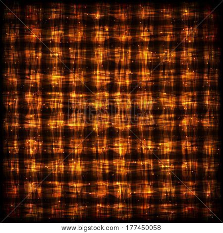 Flamy Checkered Pattern with Light Effect. Glowing Hot Abstract Background for Site Web App Program.