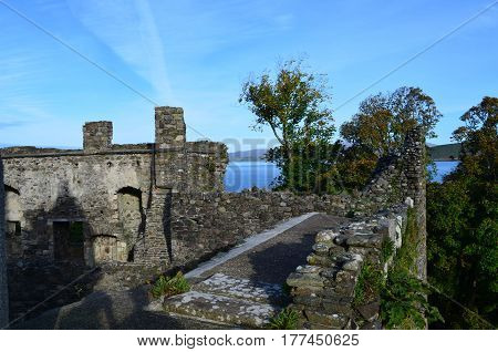 Dunstaffnage castle ruins in Argyll and Bute Scotland.