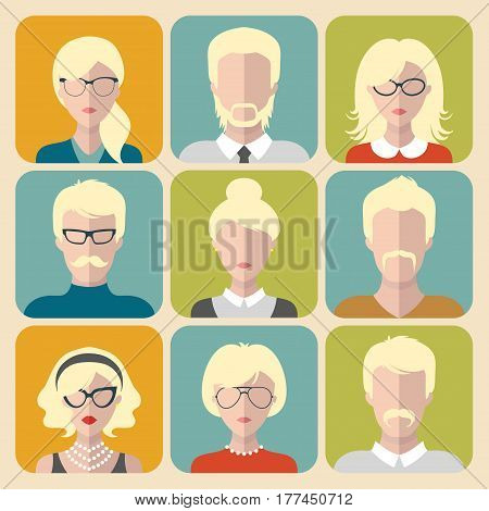 Vector set of different blond people app icons in flat style. People heads and faces images collection