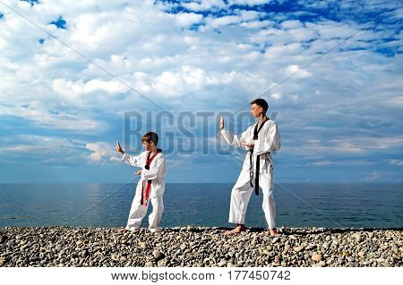 The education of the two children on the beach: Taekwondo sport
