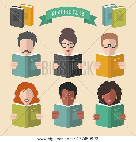 Vector set of different people reading books app icons in trendy flat style