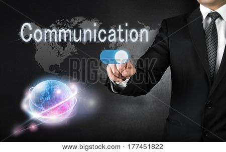 Businessman touching communication button high quality and high resolution studio shoot
