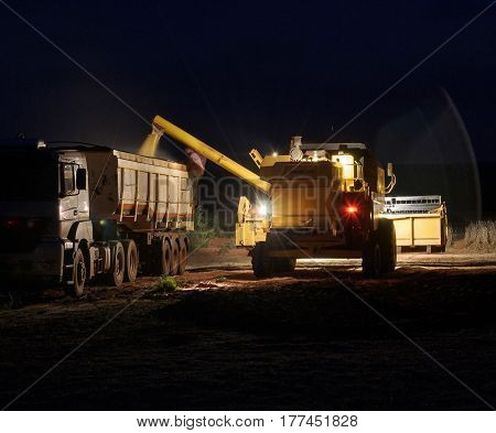 Tractor Pouring Soybeans On Truck At Night