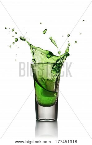 Glass Of Alcoholic Drink With Ice. Absinthe Or Mint Liquor Shot
