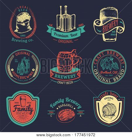 Old brewery logos set. Kraft beer retro signs or icons with hand sketched glass, barrel, mug, herbs and plants, kettle illustrations. Vector vintage homebrewing labels or badges.