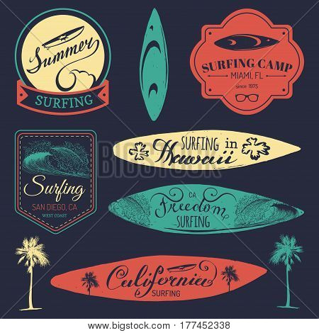 Vector set of vintage surfing logos, signs collection for textile, t-shirts print etc. Freedom, California, Hawaii typography poster.