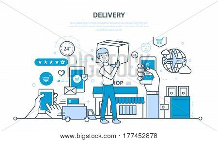 Full cycle of ordering, purchase of goods, delivery, transportation of products, leaving feedback and recommendations per work. Illustration thin line design of vector doodles, infographics elements.