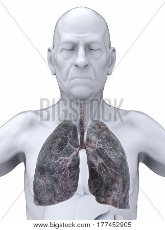 Elderly Male with Lung Cancer Illustration. 3D render