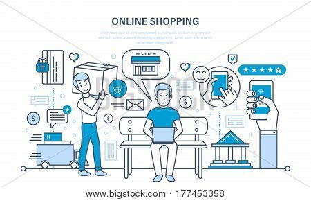 Online shopping cycle, from product selection, adding items to shopping cart, online payment and shipping, leaving feedback. Illustration thin line design of vector doodles, infographics elements.