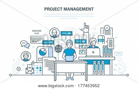 Project management concept. The organization of the working process and time, business planning, statistics, analysis, teamwork. Illustration thin line design of vector doodles, infographics elements.
