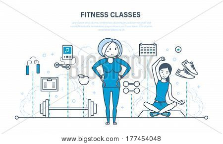 Fitness classes, a healthy lifestyle, active sport and yoga, strengthening the body physically and spiritually. Illustration thin line design of vector doodles, infographics elements.