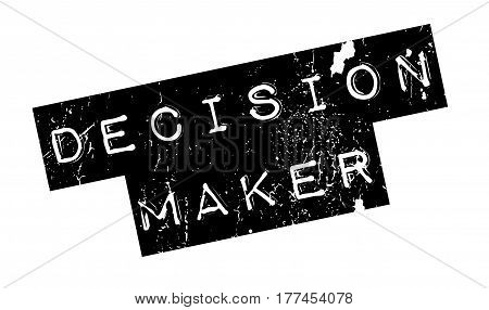 Decision Maker rubber stamp. Grunge design with dust scratches. Effects can be easily removed for a clean, crisp look. Color is easily changed.