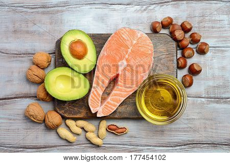 Selection of healthy fat sources. Top view.