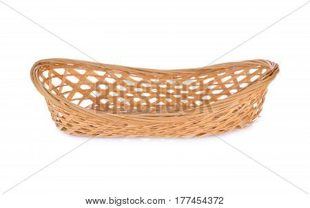 empty bamboo basket on a white background