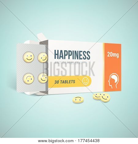 Antidepressants open drug box with smiley pills depression and health concept