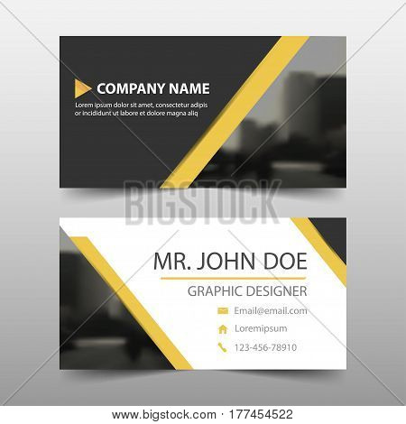 Yellow black triangle corporate business card name card template horizontal simple clean layout design template Business banner template for website