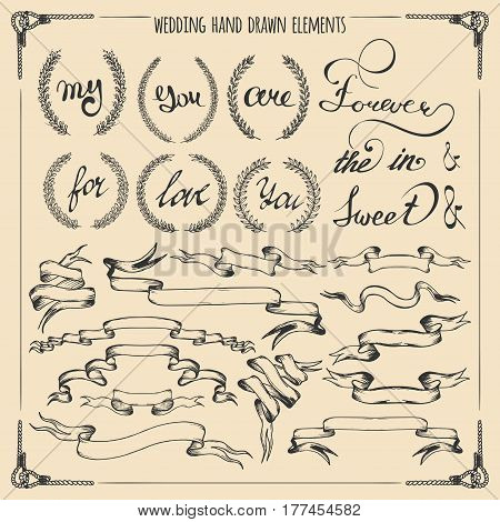 Big hand drawn wedding graphic set of laurels, wreaths, ribbons, hearts and hand lettered elements in vector