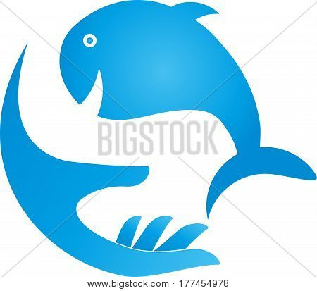 Fish and hand in blue, whale, animal, whale and fish logo