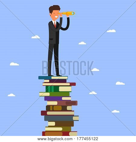 Business leadership and goal concept. Businessman looking through spyglass stands on stack of books.