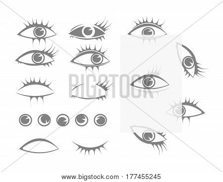 set vector templates eyes and eyelashes to create any expression