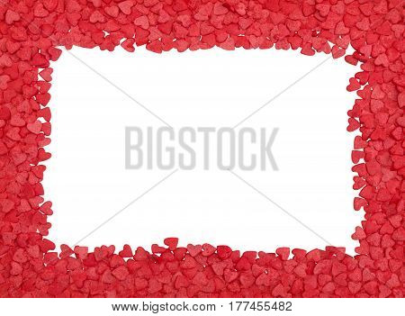 Red hearts frame, copy space, isolated over white with path