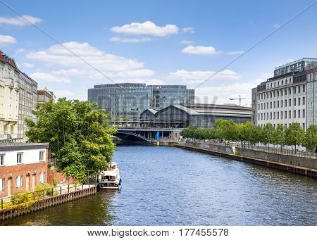 Berlin Germany 20 July 2016: View onto the Spree River and city center of Berlin Germany 20 July 2016