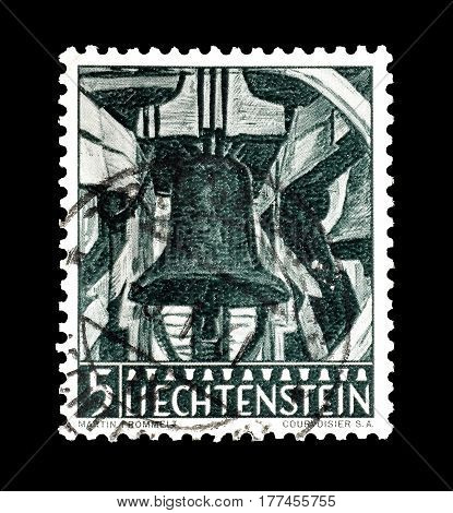 LIECHTENSTEIN - CIRCA 1959 : Cancelled postage stamp printed by Liechtenstein, that shows Bell.