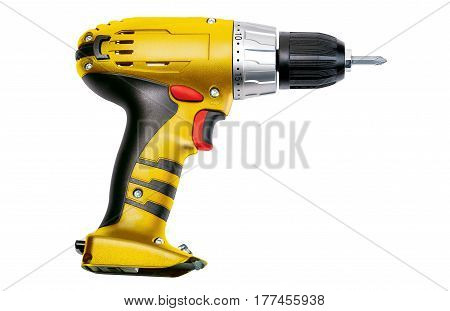 Yellow screwdriver isolated on a white background