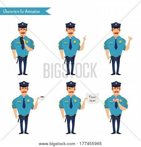 Set of colorful isolated vector policeman at work. American Policeman Funny Characters Set. policeman character for scenes. Parts of body template for animation. Emoji face icons