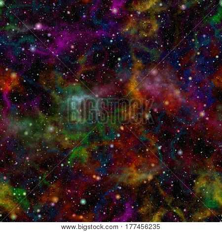 Abstract glittering colorful universe, Rainbow colored nebula night starry sky, Multicolor outer space, Galactic texture background, Seamless illustration