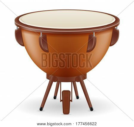 timpani drum musical instruments stock vector illustration isolated on white background