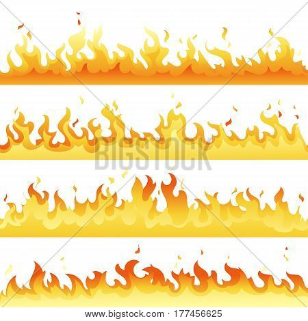 Fire Flame backdrop background set. Horizontal bonfire template for banner, web or brochure. Vector explosion decoration eps10
