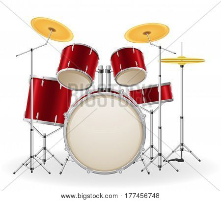 drum set kit musical instruments stock vector illustration isolated on white background