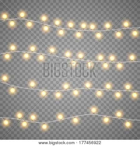 Christmas gold garlands isolation on transparent background. Xmas realistic overlay yellow lights card. Holidays decorations bright lamps. Vector gloving garland illustration