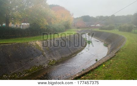 Alphin Brook in Alphington. Autumn weather - fog and damp. Exeter. Devon. England