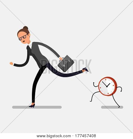 Time management concept. Business woman running away from watches. Flat design, vector illustration.