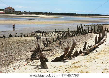 Ruin of an old Hull of boat sank in a Bay in Portugal