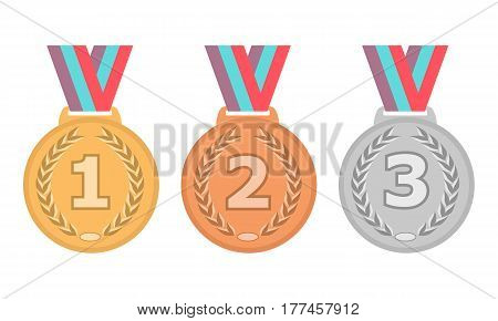 Gold Silver and Bronze medal icon set. Vector isolated medals on white background