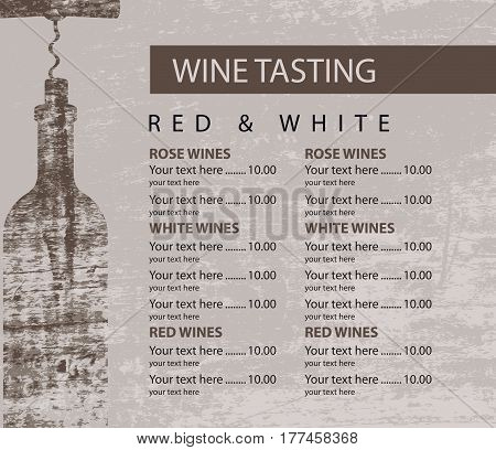 vector menu for wine tasting with price and Bottle with a corkscrew on the background of a wooden board texture
