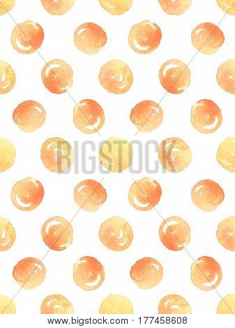 Seamless pattern with orange watercolor polka dots on white background. Vector illustration