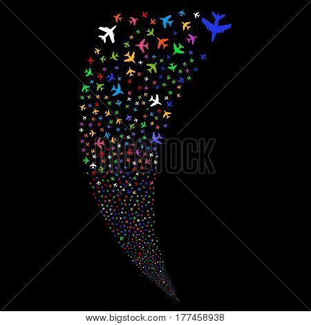 Jet Plane random fireworks stream. Vector illustration style is flat bright multicolored iconic symbols on a black background. Object fountain made from scattered pictographs.