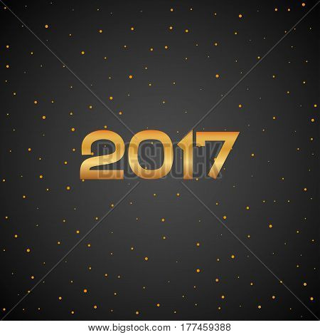 Golden New Year 2017 particles background. Gold circle dot number. Vector eve sparkle elements for celebration eps10