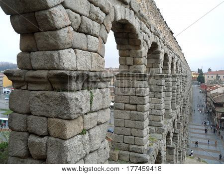 Aqueduct of Segovia, stunning UNESCO World Heritage site of Segovia, Spain