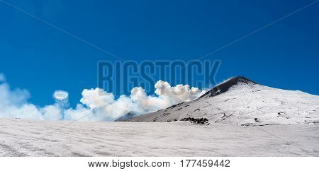 Summit Crater Of Etna Volcano With Ring Smoke Spectacular Phenomenon Of Steam Areola During The Erup