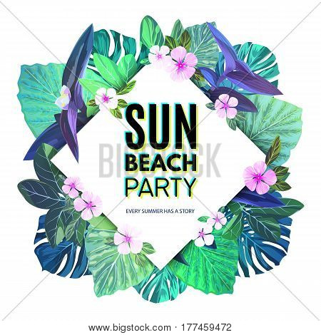 Bright summer tropical background with exotic palm leaves and pink flowers. Jungle floral party flyer template, vector illustration.