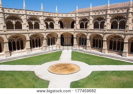 LISBON, PORTUGAL - 07 AUGUST 2011: Inner courtyard and gardens of Jeronimos Monastery