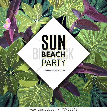 Summer green tropical party flyer design with palm tree leaves and purple flowers, vector illustration
