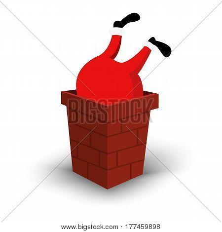 Christmas Santa Claus character upside down in chimney. Cartoon man in festive red costume Santa Claus. Vector xmas illustration eps10